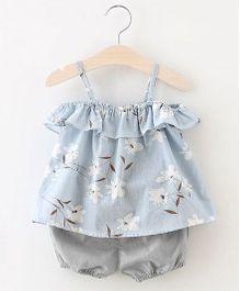 Pre Order - Awabox Floral Cold Shoulder Top & Shorts - Blue