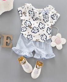 Pre Order - Awabox Floral Top & Shorts - Blue