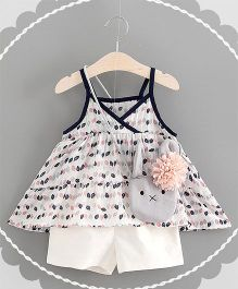 Pre Order - Awabox Singlet Printed Top & Shorts With A Sling Bag - Pink & White