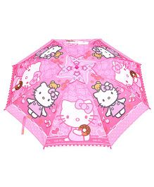 Hello Kitty Printed Umbrella With Whistle - Pink