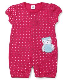 ToffyHouse Short Sleeves Romper Owl Patch - Dark Pink