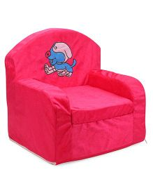 Luvely Kids Sofa Chair Dog Embroidery - Pink