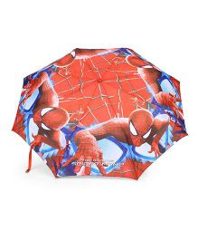 Spider Man Kids Umbrella With Whistle - Red & Blue