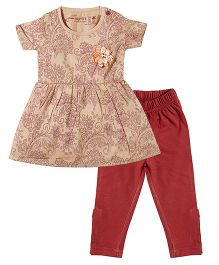 Earth Conscious Half Sleeves Frock With Leggings - Light Brown Maroon