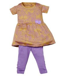 Earth Conscious Half Sleeves Frock With Leggings -  Yellow Purple