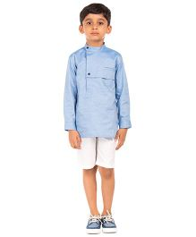 Moobaa Semi Formal Shirt With Layered Yoke - Carolina Blue