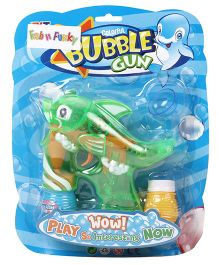 Fish Shape Bubble Gun With Solution - Green