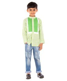 Moobaa Formal Shirt With Pintuck Yoke - Green
