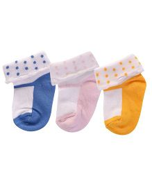 Footprints Super Soft Organic Cotton Socks Pack Of 3 - Blue Pink Yellow