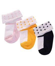 Footprints Super Soft Organic Cotton Socks Pack Of 3 - Yellow Pink Black