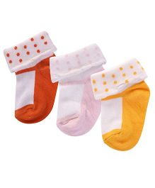 Footprints Super Soft Organic Cotton Socks Pack Of 3 - Pink Orange Yellow