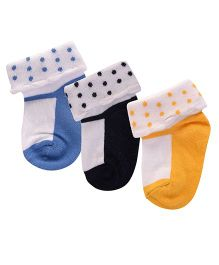 Footprints Super Soft Organic Cotton Socks Pack Of 3 - Blue Black Yellow