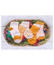 Footprints Super Soft Organic Cotton Socks Pack of 5 - Yellow