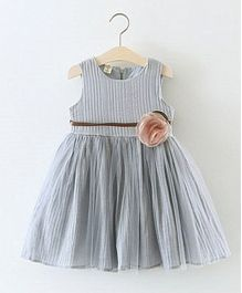 Pre Order - Awabox Flared Dress With A Flower Applique - Gray