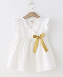 Pre Order - Awabox Overlap Dress With A Ribbon Bow - White