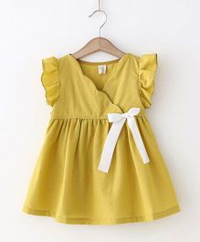 Pre Order - Awabox Overlap Dress With A Ribbon Bow - Yellow
