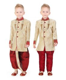 Ethnik's Neu Ron Full Sleeves Kurta Jodhpuri Breeches And Dhoti With Necklace - Fawn Maroon