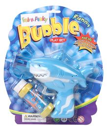 Shark Shape Bubble Gun With Solution - Blue