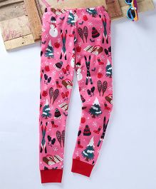 Eimoie Winter Theme Track Pant - Pink & Red