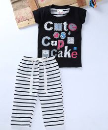 Eimoie Cute As Cupcake Print Tee & Striped Pant Set - Black & White