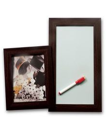 EZ Life Photo Holder & White Board Planner - Coffee Brown