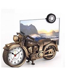 EZ Life Motorcycle Photo Frame With Desk Clock - Metallic