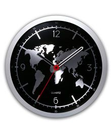 EZ Life World Map Clock - Black & Silver
