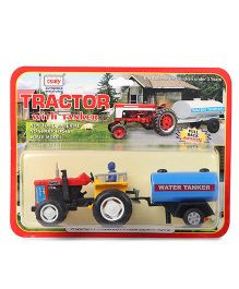 Centy Pull Back Tractor With Tanker Toy - Red Yellow Blue