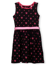 Barbie Sleeveless Frock Hearts Print - Black