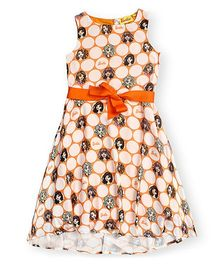 Barbie Sleeveless Printed Frock - Orange