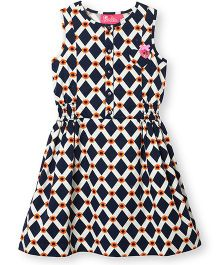 Barbie Printed Sleeveless Frock - Blue