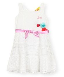 Barbie Sleeveless Frock With Hakoba Design - White