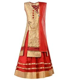 Aarika Embroidered Patch Work Choli With Ethnic Broach & Mastani Lehenga Dupatta Set - Maroon
