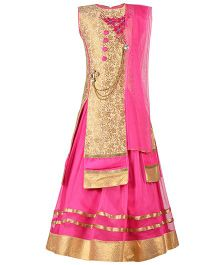 Aarika Embroidered Patch Work Choli With Ethnic Broach & Mastani Lehenga Dupatta Set - Pink