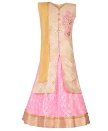 Aarika Embroidered Patch Work Choli & Ethnic Lehenga With Dupatta - Pink