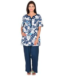 9teenAGAIN Half Sleeves Maternity Nursing  Top And Pajama Floral Print - Blue White