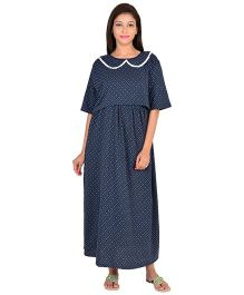 9teenAGAIN Half Sleeves Maternity Nursing Dotted Nightdress - Blue