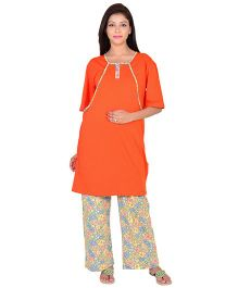 9teenAGAIN Half Sleeves Maternity Nursing Night Suit - Orange Green