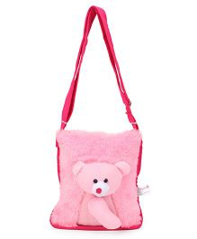 IR Fur Shoulder Bag Teddy Applique - Pink
