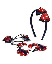 Golden Peacock Printed Hair Accessory Set - Red & Navy