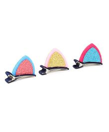 Golden Peacock Hair Clip Set of 3 - Pink Yellow Blue