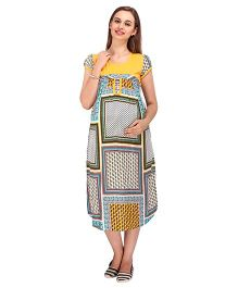 MomToBe Shorts Multi Print Maternity Dress - Yellow