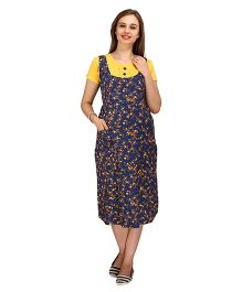 MomTobe Half Sleeves Maternity Dress Floral Print - Yellow Navy