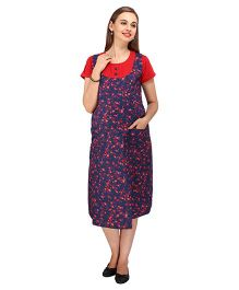 MomTobe Half Sleeves Maternity Dress Floral Print - Red Navy