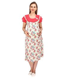 MomToBe Short Sleeves Maternity Dress Floral Print - Red Cream