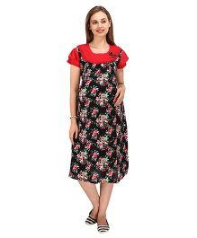 MomToBe Short Sleeves Maternity Dress Floral Print - Black & Red