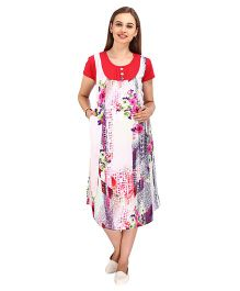 MomToBe Red Multiprinted Maternity Dress l Rayon