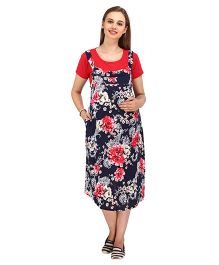 MomToBe Short Sleeves Maternity Dress Floral Print - Red & Navy