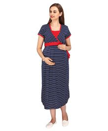 MomToBe Short Sleeves Maternity Dress Stripes Pattern - Navy Red