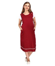 MomTobe Half Sleeves Plain Maternity Dress - Maroon White